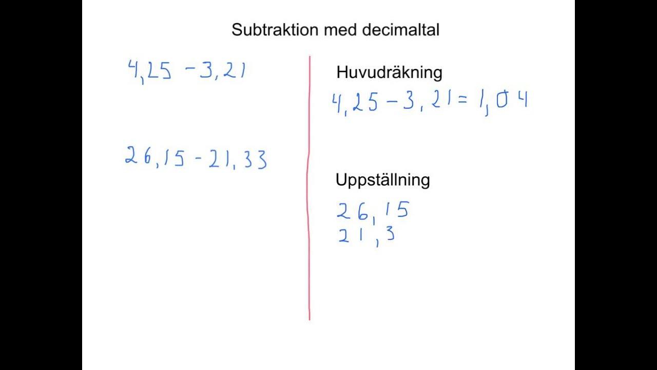 Subtraktion med decimaltal - YouTube eca386af6c937