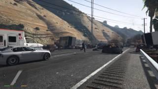 5 minute Grand Theft Auto V highway pileup/explosion.