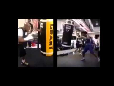 Manny Pacquiao vs Floyd Mayweather Jr Heavy Bag Training