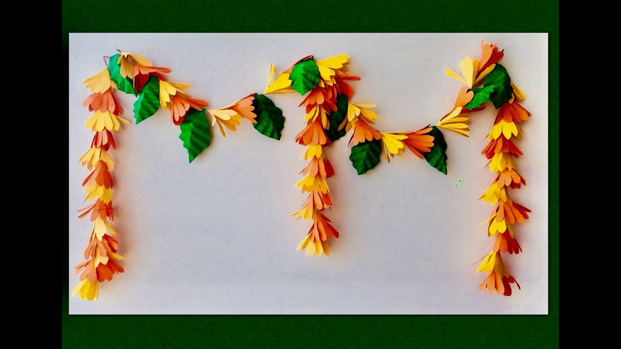 How to make paper flowers toran garland or origami flowers garland how to make paper flowers toran garland or origami flowers garland door hanging made easy mightylinksfo