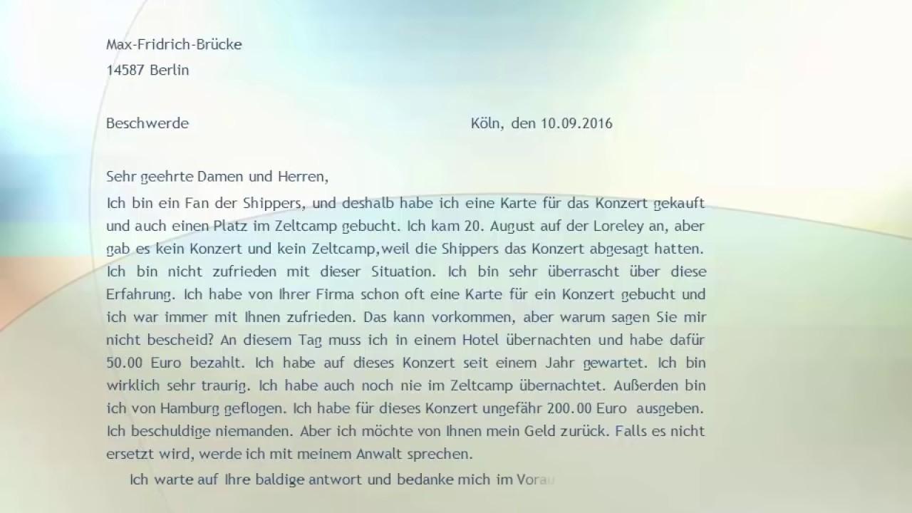 Goethe Zertifikat B2 Prüfung Beschwerde Brief Beispiel Youtube