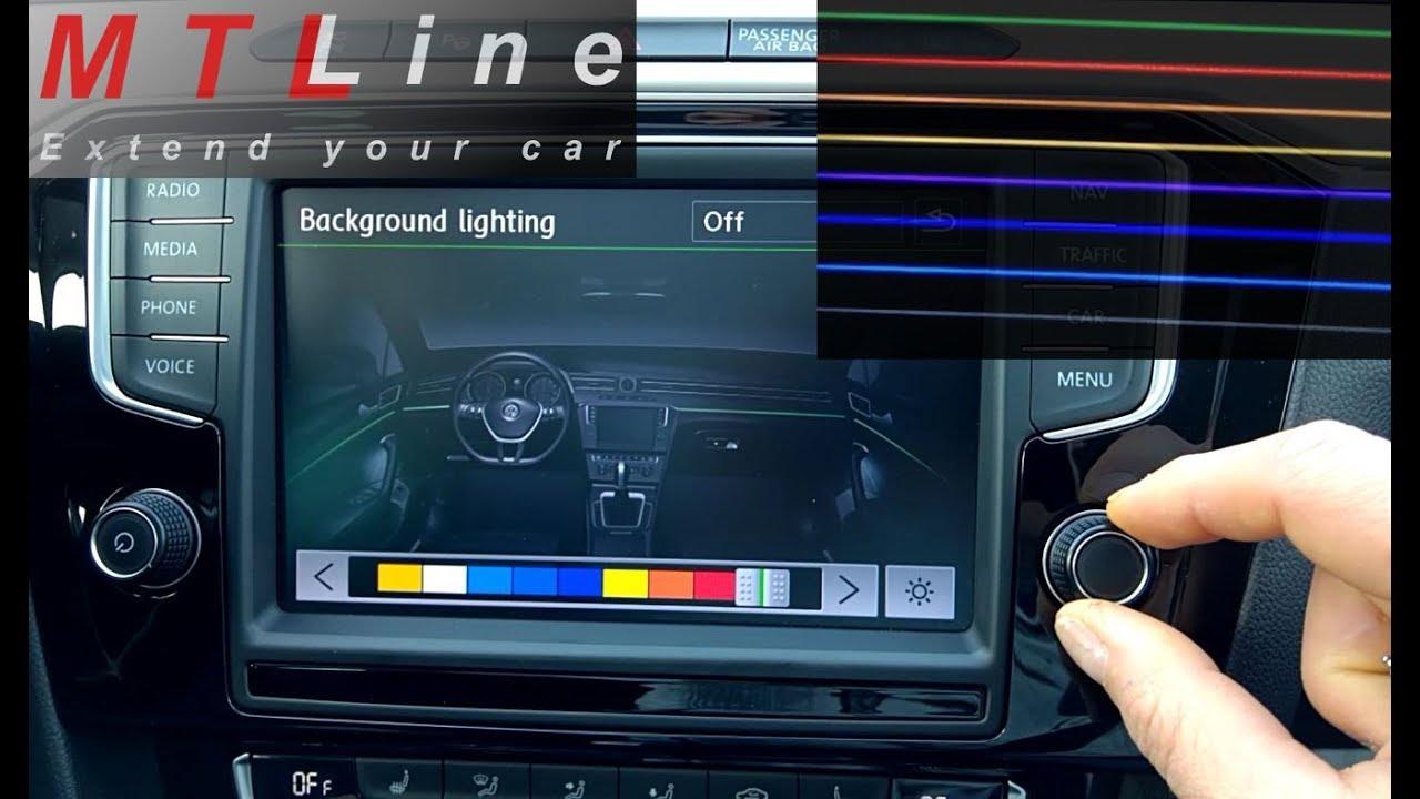 10 Colour Ambient Plus Lighting Activation On Passat B8 Vključitev 10 Barvne Notranje Osvetlitve