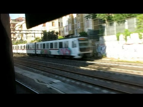 Arriving at Roma Porta San Paolo station, Rome, Italy