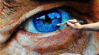 Photo realistic Eye oil painting by Sergey Gusev.