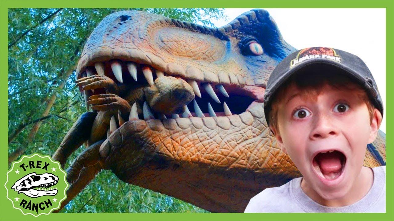 Giant Dinosaurs & Life Size T-Rex! Jurassic Dinosaur Park Adventure | T-Rex Ranch