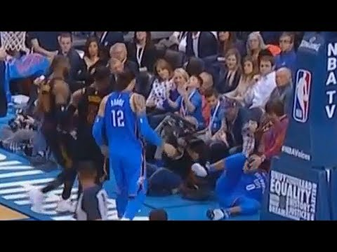 LeBron James Checks on Russell Westbrook After He Falls and Helps Him Get Up! Cavaliers vs Thunder