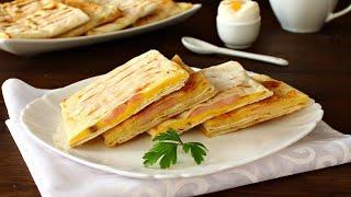 Конвертики из лаваша с сыром и ветчиной видео рецепт