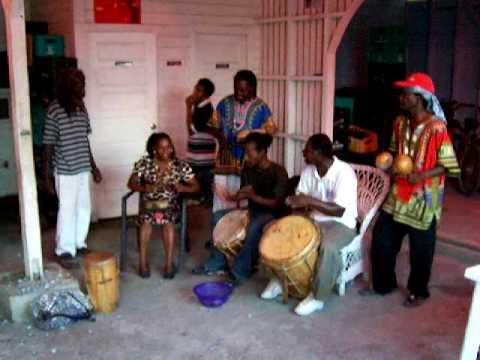 Garifuna drumming in Carnitta's bar on Haulover Creek, Belize City