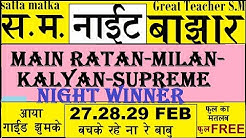 Satta Matka Main Ratan,Kalyan,Milan. Raj,Sup Night 27.28.29 Guide By Great Teacher S.M