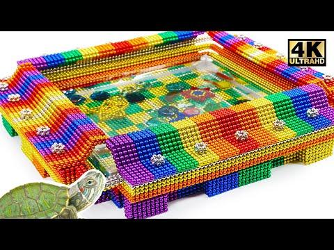 DIY - How To Make Stadium Aquarium For Turtle From Magnetic Balls (Satisfying) | Magnet World Series