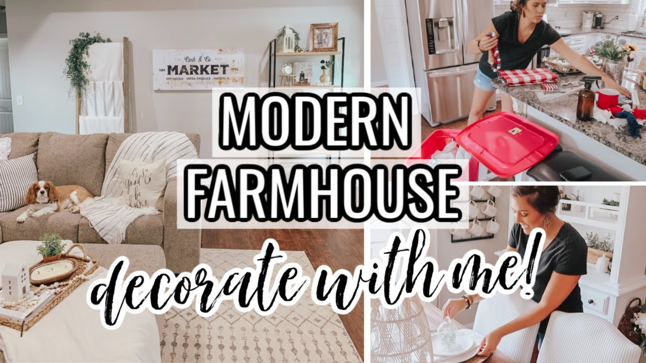 *NEW* RELAXING DECORATE WITH ME   MODERN FARMHOUSE NEUTRAL DECOR   HOME STYLING 2020