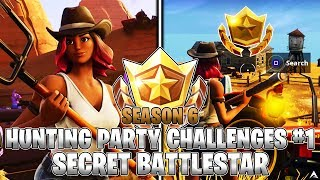 SECRET BATTLESTAR LOCATION! Week 1 Hunting Party Challenges (Fortnite Season 6)