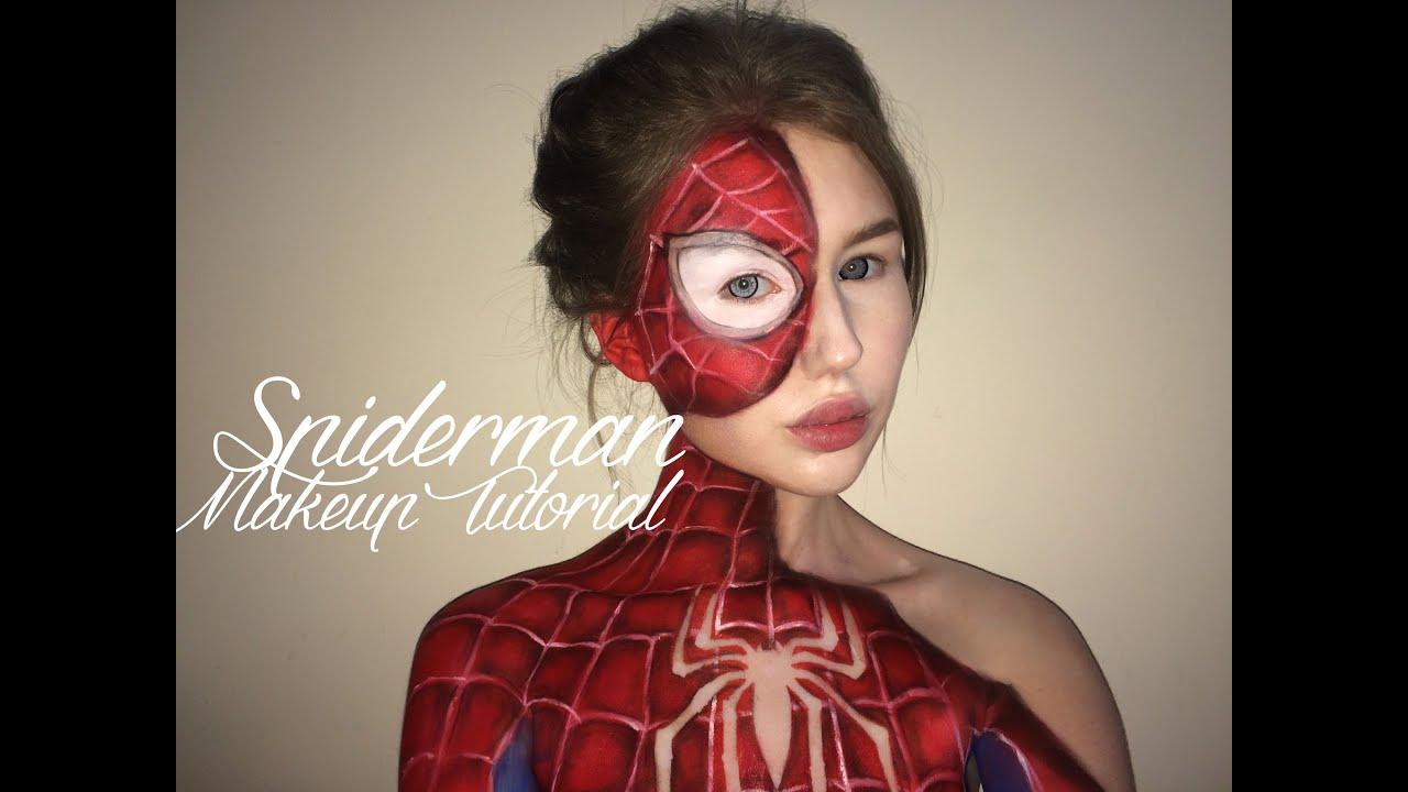 Spiderman Suit Makeup Tutorial - YouTube