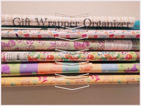 DIY Dollar Tree Gift Wrapping Paper Wall Organizer - Easy $1