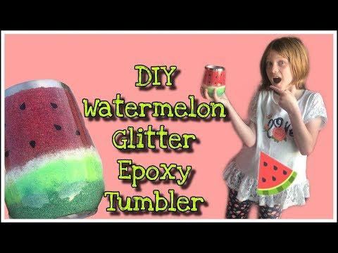 DIY Watermelon Glitter Epoxy Wine Tumbler