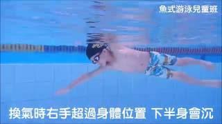 魚式游泳 陳俊勳教練 兒童班20160618 練習紀錄-自由式 滾轉