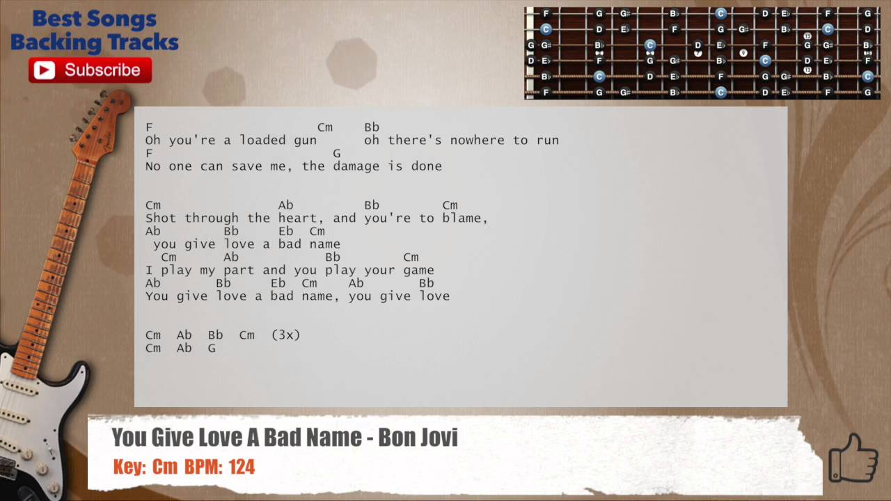 You Give Love A Bad Name Bon Jovi Guitar Backing Track With Chords