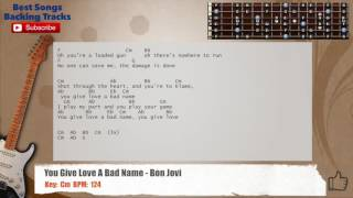 you give love a bad name bon jovi guitar backing track with chords and lyrics