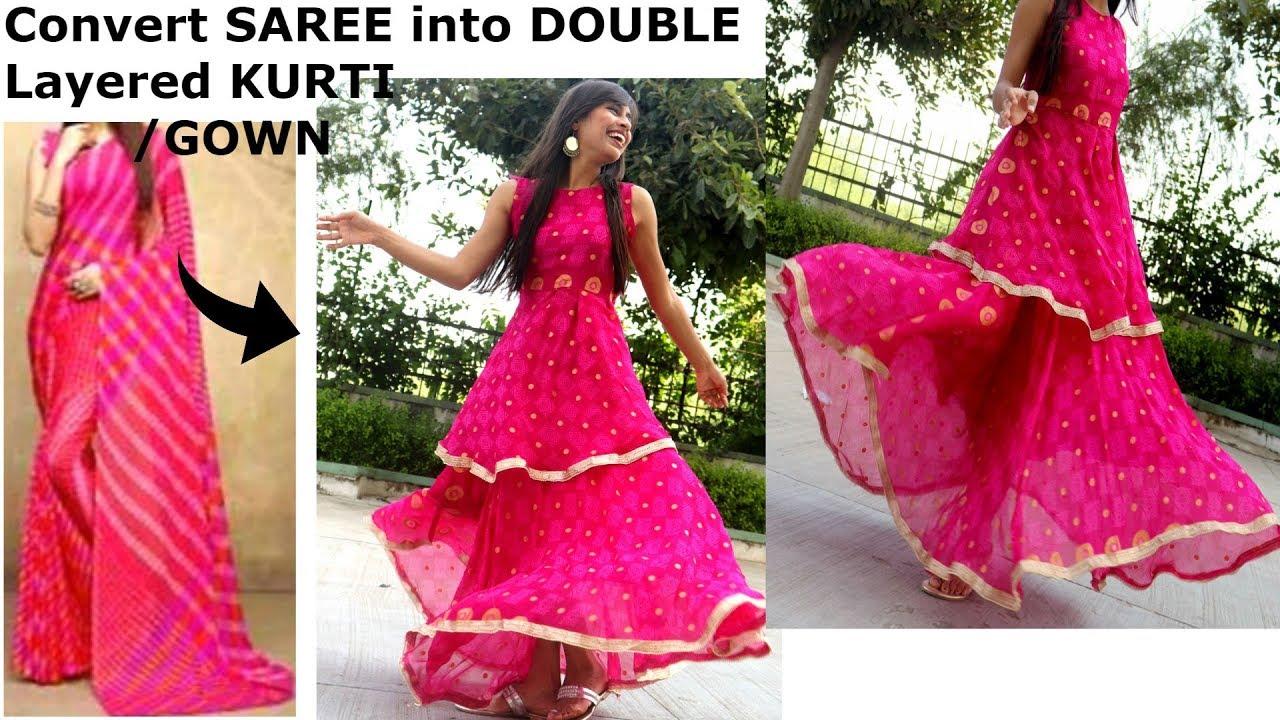 Convert Saree Into Double Layered Gown Kurti Diy Dress For