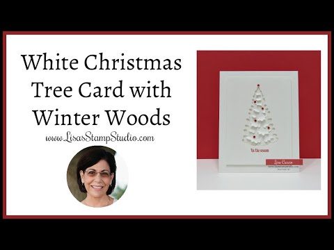 🔴White Christmas Tree Card with Winter Woods
