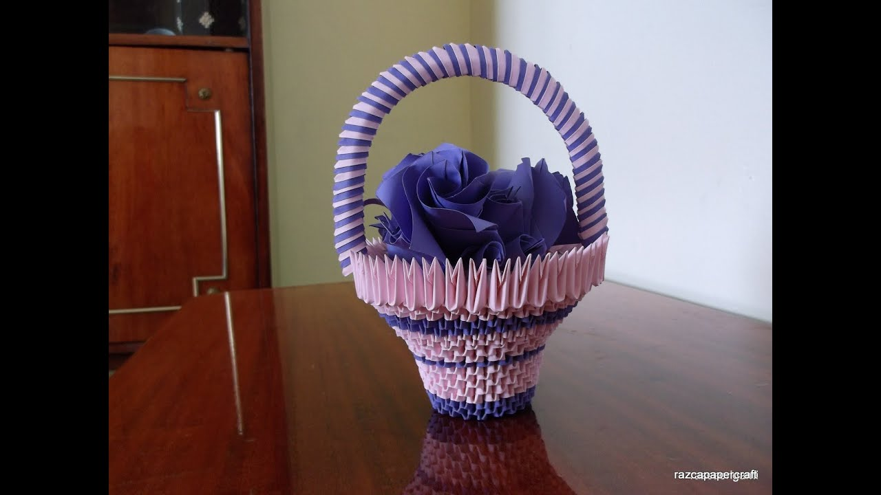 3d origami basket with flowers tutorial diy paper craft basket 3d origami basket with flowers tutorial diy paper craft basket razcapapercraft 10 youtube mightylinksfo