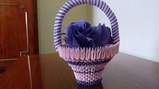 3D Origami basket with flowers tutorial     DIY  Paper Craft Basket