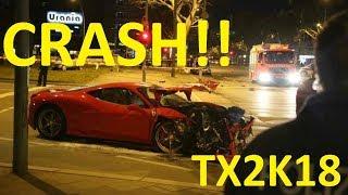 TX2K18 FERRARI CRASH!!!! STREET RACES FAIL