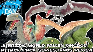Jurassic World Attack Pack Dinos Velociraptor Dilophosaurus Fallen Kingdom Figures Video Review