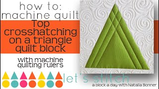 How To-Machine Quilt Top Crosshatching on a Triangle-W/Natalia Bonner-Lets Stitch a Block a Day 37