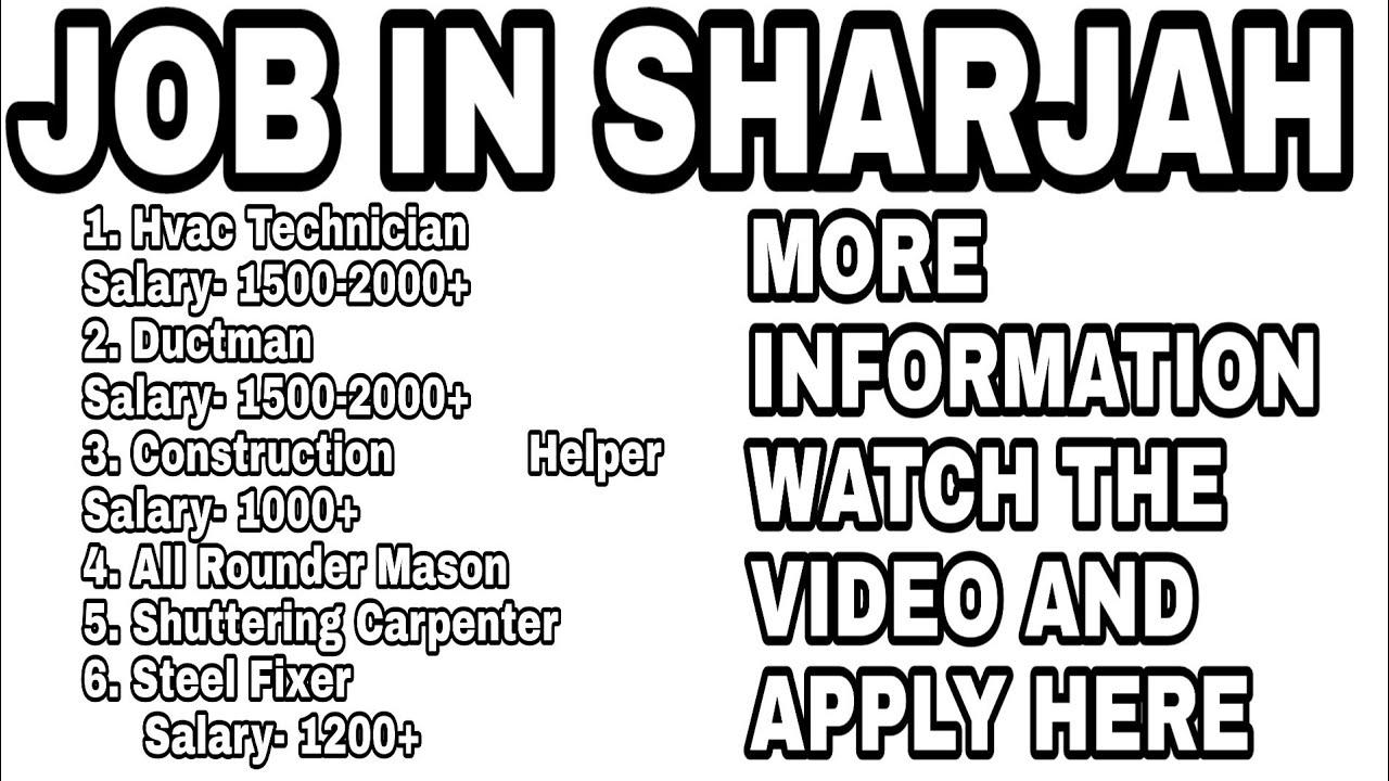 Job in sharjah | hvac technician job in sharjah | s carpenter | Ductman job  in sharjah | Ak&sons