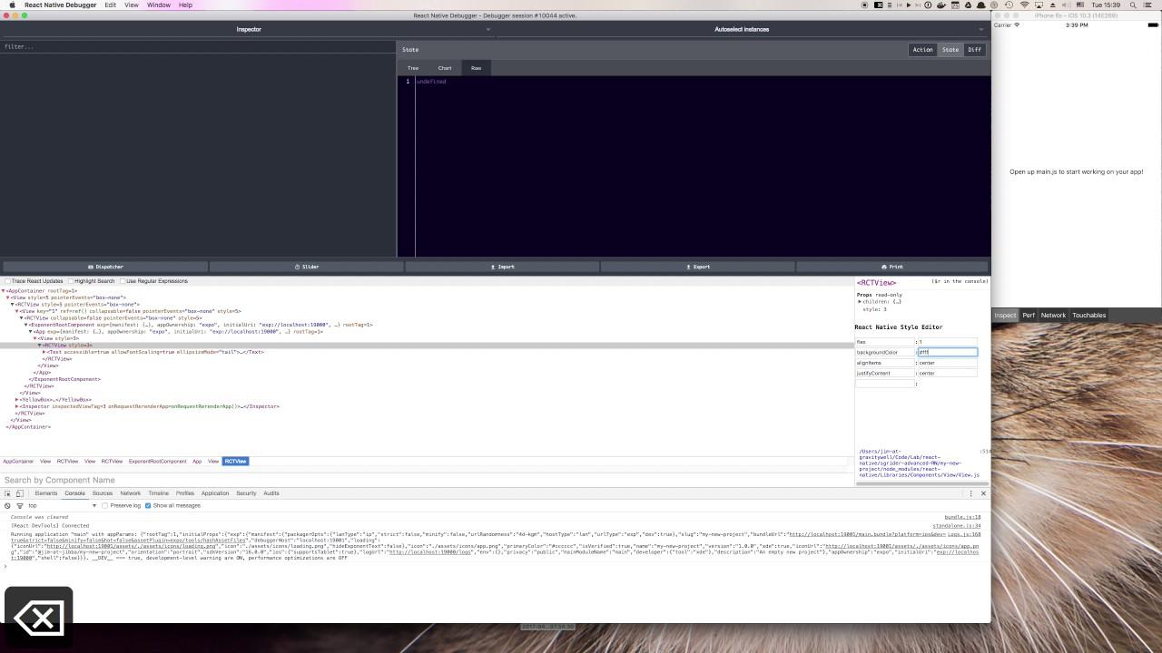 Demo of React Native Debugger with Expo