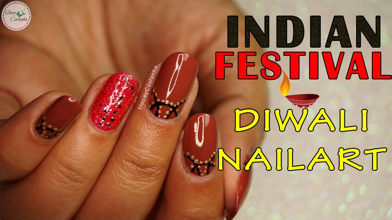 Diwali Nail Art | Indian Festival Nail Design Tutorial - YouTube