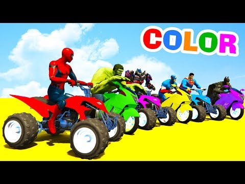 Thumbnail: LEARN COLORS ATV and MotorBike w Superheroes for Toddlers - 3D Cars For Kids
