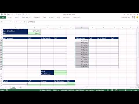 Excel Magic Trick 1007: Loan PMT Semi-Monthly Schedule: A Few Finance and Date Tricks