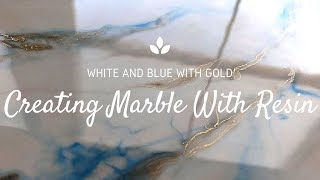 Make Marble With Resin (White and Blue with Gold)