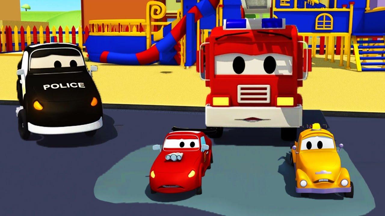 der streifenwagen die kleinen autos stecken fest in car city autos lastwagen bau cartoon. Black Bedroom Furniture Sets. Home Design Ideas
