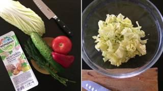 Салат за 5 минут из морского коктейля с овощами