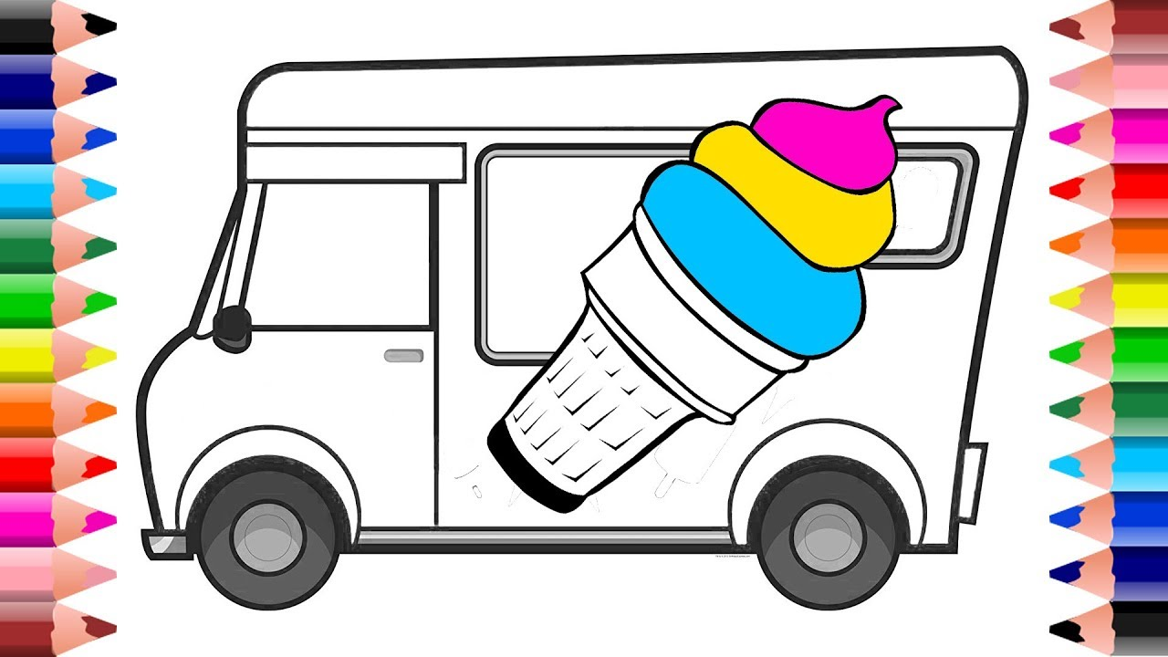 Team Hot Wheels Kleurplaten.Ice Cream Van Coloring Pages How To Draw Ice Cream Truck For Kids