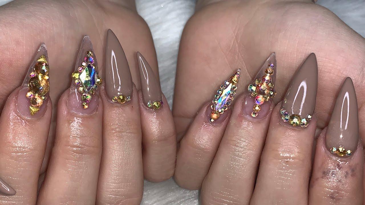 Acrylic Nails Tutorial | FullSet Stiletto Nails | Nude ...