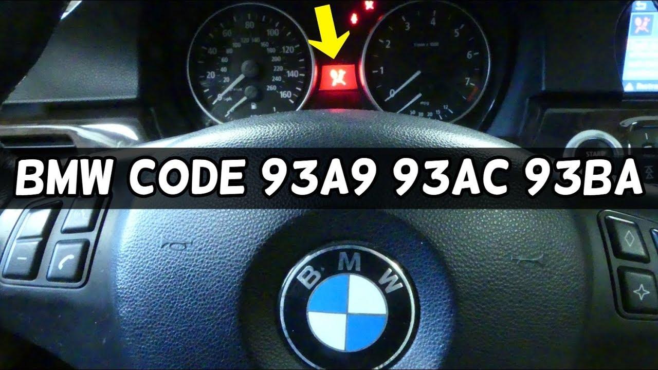 BMW AIRBAG LIGHT ON CODE 93A9 93AC 93BA