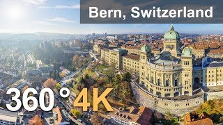 360°, Bern, Switzerland. 4К aerial video(Bern is full of rather ancient sights listed as UNESCO World Heritage Sites. In 2014 Bern was declared the most beautiful city of the country by the citizens ..., 2016-10-25T12:21:50.000Z)
