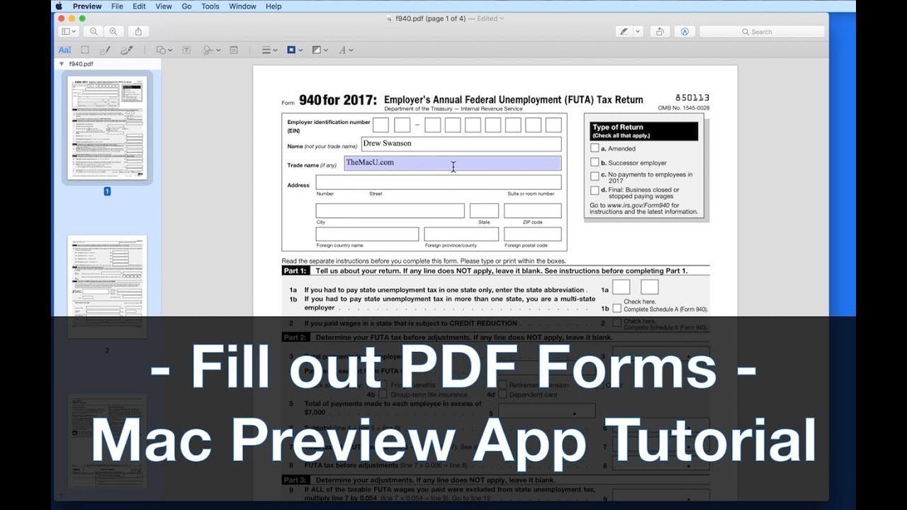 How to fill out a tax form with Preview for Mac  A free tutorial from  TheMacU com