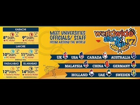 Worldwide Education Expo 2017 Karachi, Lahore, Faisalabad & Islamabad