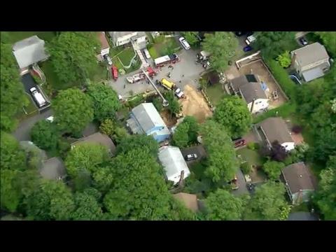 LIVE: Huntington, NY: Aerials Of A Cesspool Collapse