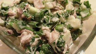 Салат с курицей и свежими огурцами