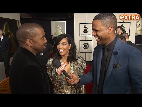 Kanye Tells the Story of How He Courted Kim on Grammys Red Carpet