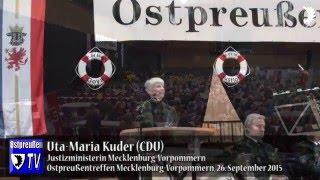 Justizministerin Uta-Maria Kuder (CDU) beim 20. Landestreffen der Ostpreußen in MV, Schwerin 2015