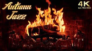 Autumn Jazz Fireplace  Smooth Saxophone & Piano  4K Fall Jazz Fireplace