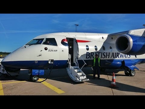 British Airways (Sun Air) Dornier 328Jet OY-NCL Taxi and Takeoff Gothenburg to Cambridge