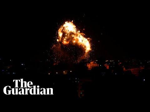 Moment rocket hits Hamas-run television building in Gaza strip